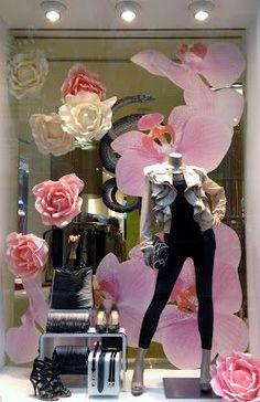 Spring window display idea. Like the big flowers