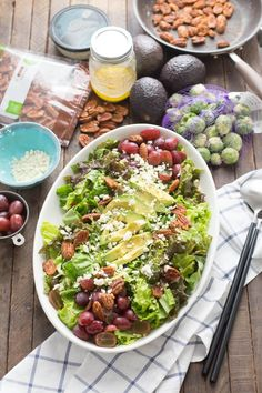 This harvest salad has a hearty mix of greens, grapes, nuts and a simple honey mustard vinaigrette. Have this tasty salad recipe to serve at the beginning of your Thanksgiving family meal.