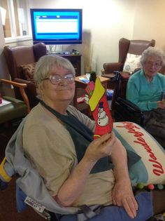 Making stockings to place on our fireplace at Springhill Care Home.