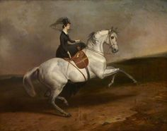Lady Portarlington on a Grey Horse, 1845, by Charles Hancock (1802-1877)