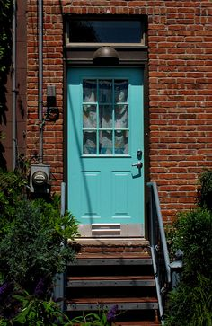 stock photo : front door of a beautiful red brick house | for the