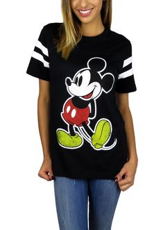 Disney Womens Mickey Mouse Varsity Football Tee Small Black