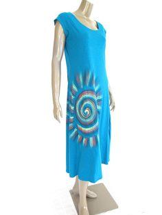 Teal Blue Long Cotton Women Dress / Summer Dress / by NaniFashion, $48.00