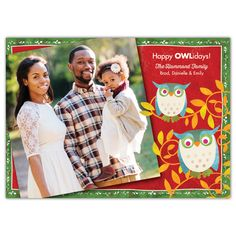 "Make the holidays a real hoot with our feathered friends and send a personal holiday greeting with this festive owl photo card. Featuring artistry by Challis & Roos, this modern design showcases a graphic red and green background with two awesome owls perched among the leaves and branches, and the wise sentiment ""Happy Owlidays""."