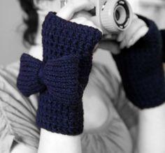 Blue Fingerless Gloves Crochet Gloves With Bow