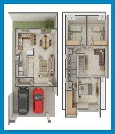 Planos de Casas y Plantas Arquitectónicas de Casas y Departamentos: Planta Arquitectónica modelo Azahar en Céntrika del Lago