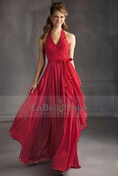2015 Halter A-ligne Robes de mariée longueur de plancher avec une longue jupe en mousseline