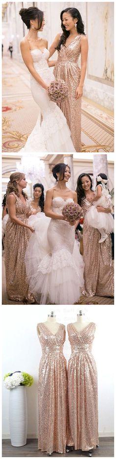 rose gold sequins long bridesmaid dress, long bridesmaid dress, wedding party dress