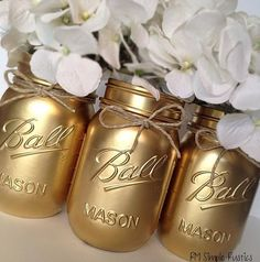 Housewares, Baby Shower, Nursery Decor, Home Decor, Metallic Gold Mason Jar, Centerpiece, Housewarming, Bathroom Decor, Bathroom accessories