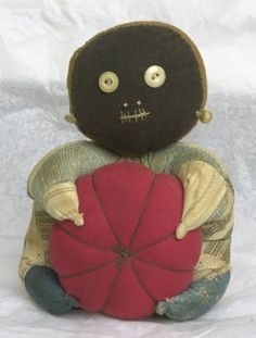 Antique Black Folk Art Pin Cushion  Oh WOW do I ever wish that this were mine!!!