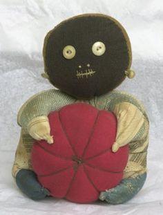 Antique Black Folk Art Pincushion