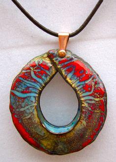 "Pendants, Copper and vitreous enamel.  Approx. 2 3/4"" x 2 3/4"""