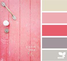 Palette: Pink Door A's room Colour Schemes, Color Patterns, Color Combinations, Colour Palettes, Palette Design, Color Palate, Design Seeds, Colour Board, Color Stories