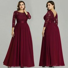 Plus Size Ever Pretty Evening Dresses Long Elegant Long Sleeve A-line Lace Chiffon Navy Blue Winter Wedding Guest Dresse. If You Want to get more ideas just click picture. Burgundy Bridesmaid Dresses Long, Burgundy Gown, Bridesmaid Dresses Plus Size, Prom Dresses, Summer Dresses, Evening Dress Long, Evening Dresses Plus Size, Evening Gowns, Formal Dresses For Weddings