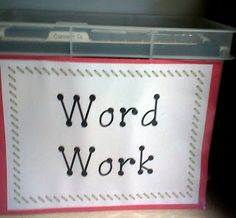 Word Work described in detail for middle years