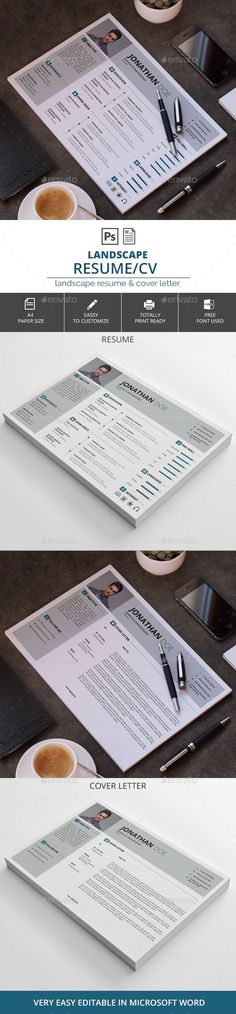 Landscape Resume / CV Template PSD, MS Word