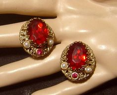 Vintage West Germany Earrings ruby red glass by VintageTreasures4U