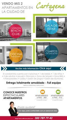 Jacuzzi, Mail Marketing, Condos, Apartments, Ocean Views, Gym, Cartagena, Pools, Lounges
