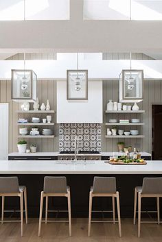 Summer style!! White and gray modern kitchen! Modern farmhouse style!! Modern contemporary kitchen!! Love the vent hood and the pendant lights! #kitchendesign #onekindesign