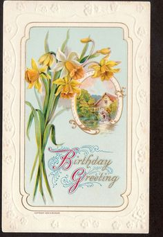 1909 Wessler Daffodil flowers country scene Birthday greeting postcard