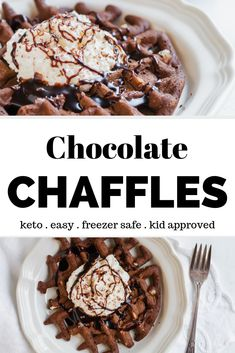 Chocolate Chaffle Recipe – These are the BEST keto waffles! They are easy to make and kid friendly. Have them for keto breakfast or a low carb dessert… - Pink Rezepte Keto Friendly Desserts, Low Carb Desserts, Low Carb Recipes, Dessert Recipes, Breakfast Recipes, Dinner Recipes, Breakfast Biscuits, Keto Biscuits, Keto Pancakes