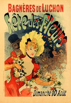 Bruce Teleky Fete des Fleurs Festival of Flowers Bagneres de Luchon by Jules Cheret Framed and Matted Vintage Poster Custom Made Solid Wood Traditional Gold Frame x 22 Retro Poster, Vintage Posters, Vintage Art, French Posters, Art Nouveau, Jules Cheret, Flower Festival, Kunst Poster, Poster Prints