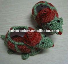 Hecho a mano a mano de punto de ganchillo crochet animal zapatos de bebé, zapatos del juguete, zapatos de tortuga, zapatos de tortuga ( kcc ...                                                                                                                                                      Más