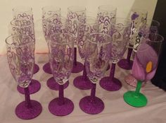 Purple Glitter Champagne Flutes for a 60th Birthday Party