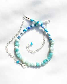 A personal favorite from my Etsy shop https://www.etsy.com/listing/462767144/sky-blue-necklace-with-amazonite-chips