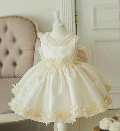 Champagne Flower Girl Dress-Fancy Champagne Floral & Pearl Applique Big Bow Flower Girl Dress Material: Cotton, soft polyester fabric, tulle mesh, satin Available from 1 - 12 years
