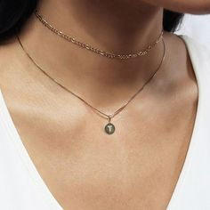 Coming soon. Create your own layers w/ our personalizable Mini Coin Initial Necklace & chains.