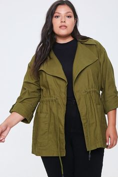 Product Name:Plus Size Zip-Up Utility Jacket, Category:CLEARANCE_ZERO, Price:35 Forever 21, Plus Size Winter, Curvy Plus Size, Oversized Cardigan, Fall Jackets, Winter Looks, Utility Jacket, Wardrobes, Ripped Jeans