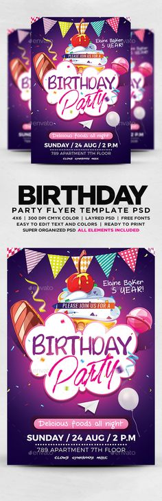 Birthday Party Flyer Template PSD