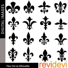 Fleur De Lis Silhouette 07350  Commercial use clipart  by revidevi, $5.95