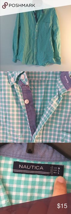 MENS stylish nautica top! Green And white checkers Amazing men's top. Excellent condition and brand Nautica Shirts Dress Shirts