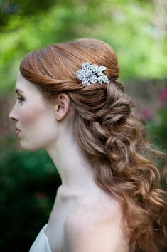 Rhinestone Flower Bridal Comb from Fine