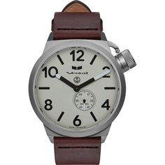 Vestal Canteen Italia Watch   Cordovan/Silver/Metallic White/Italian Leather