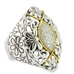 Diamond Sterling Silver Floral Ring with 18K Gold Accents   Cirque Jewels