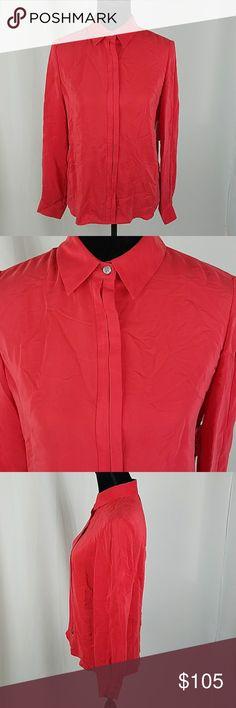 "Frame women S red silk button down shirt Frame women S red 100% silk button down long sleeve shirt hidden buttons.  Under arm to under arm: 19.5"" Length: 28.95"" Frame Denim Tops Button Down Shirts"