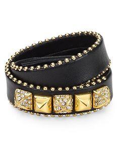 Juicy Couture Heavy Metal Skinny Leather Wrap Bracelet | Bloomingdale's