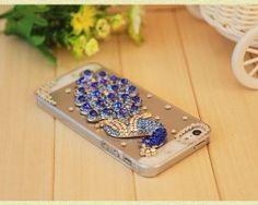Obal z tvrdeného plastu so šperkom na iPhone 5 / 5S - páv modrý