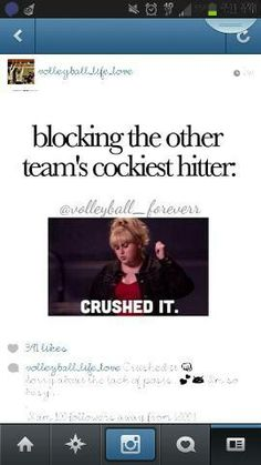 Volleyball. Brione this is you all the time. Keep up the great block bri !