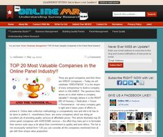 "TOP 20 Most Valuable Companies in the Online Panel Industry!!  Why eCGlobal Solutions is a VALUABLE Company? – ""If you are looking for a panel vendor in Latin American markets you MUST engage eCGlobal Solutions""."