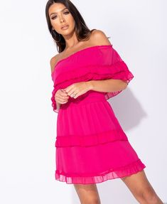 Sukienka szyfonowa hiszpanka  (fuksja) Asos, Shoulder Dress, Dresses, Fashion, Gowns, Moda, Fashion Styles, Dress, Vestidos