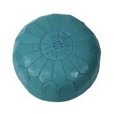 Aqua Leather Pouf | dotandbo.com  ($180)