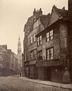 Old houses in Drury Lane, c.1876, from the Society for Photographing Relics of Old London archives at the Bishopsgate Institute. S)