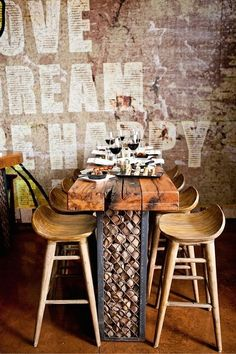 Bum hugging stools and rustic walls