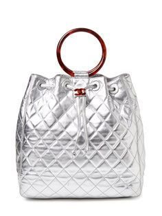 Silver Quilted Large Tote with Tortoise Handles
