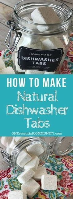 easy-to-make homemade natural dishwasher detergent tabs and they REALLY WORK! Cleans stuck-on food, gets silverware shiny, & glasses sparkling! DIY essential oil recipe for dishwasher detergent tabs. Deep Cleaning Tips, Cleaning Recipes, House Cleaning Tips, Natural Cleaning Products, Cleaning Hacks, Diy Hacks, Cleaning Supplies, Green Cleaning, Natural Products