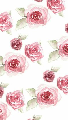 Floral roses pink red white watercolor